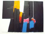 Roger Large, Rising Forms I, (127), acrylic and collage, 61x44cm, £750